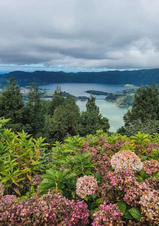 floral landscape in the Azores islands with a beautiful lake in the background