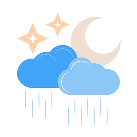 Rainy cloud with moon vector image recommended for use on web applications, mobile applications, and print media.
