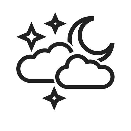 Cloudy with moon vector image to be used in web applications, mobile applications, and print media. Illustration