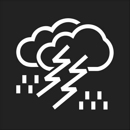 Lightning, rain, cloud, storm, thunderstorm icon vector image. Can also be used for weather, forecast, season, climate, meteorology. Suitable for web apps, mobile apps and print media.