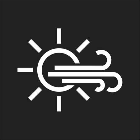 meterology: Sunny, windy icon vector image. Can also be used for weather, forecast, season, climate, meteorology. Suitable for web apps, mobile apps and print media. Illustration