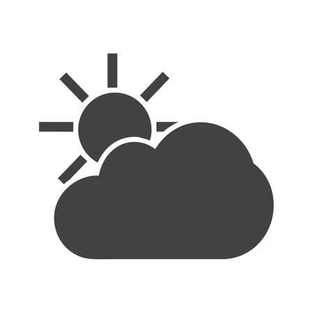 partly sunny: Sun, solar, clouds, sunny icon vector image. Can also be used for weather, forecast, season, climate, meteorology. Suitable for web apps, mobile apps and print media.