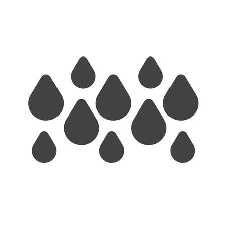 drizzle: Rainy, rain, water droplets icon vector image. Can also be used for weather, forecast, season, climate, meteorology. Suitable for web apps, mobile apps and print media. Illustration