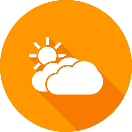 partly: Sun, solar, clouds, sunny icon vector image. Can also be used for weather, forecast, season, climate, meteorology. Suitable for web apps, mobile apps and print media.