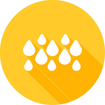 rainy season: Rainy, rain, water droplets icon vector image. Can also be used for weather, forecast, season, climate, meteorology. Suitable for web apps, mobile apps and print media. Illustration
