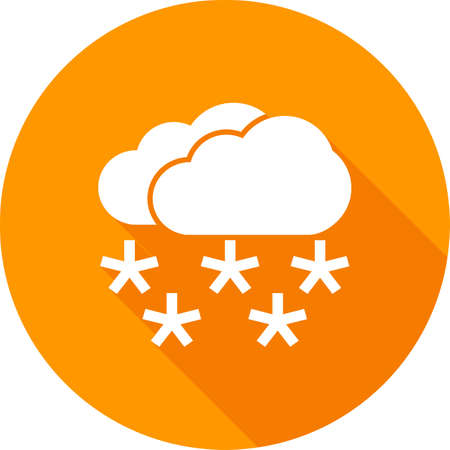 scenics: Snow, snowflakes, clouds, snowing icon vector image. Can also be used for weather, forecast, season, climate, meteorology. Suitable for web apps, mobile apps and print media.