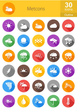meterology: Weather, meterology vector image. Can also be used for sun, rain, clouds, lightning, wind, temperature, forecast. Suitable for web apps, mobile apps and print media.