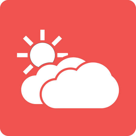 weather forecast: Sun, solar, clouds, sunny icon vector image. Can also be used for weather, forecast, season, climate, meteorology. Suitable for web apps, mobile apps and print media.