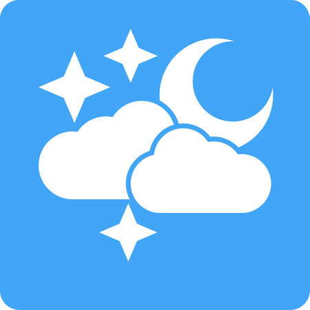night sky with stars: Cloud, stars, moon, rain icon vector image. Can also be used for weather, forecast, season, climate, meteorology. Suitable for web apps, mobile apps and print media. Illustration
