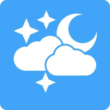 noche y luna: Nube, estrellas, luna, icono de la lluvia de imágenes vectoriales. También se puede utilizar para el clima, la previsión, la temporada, el clima, la meteorología. Adecuado para aplicaciones web, aplicaciones móviles y los medios impresos.