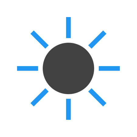 brightness: Sun, solar, sunny, sky icon vector image. Can also be used for weather, forecast, season, climate, meteorology. Suitable for web apps, mobile apps and print media.