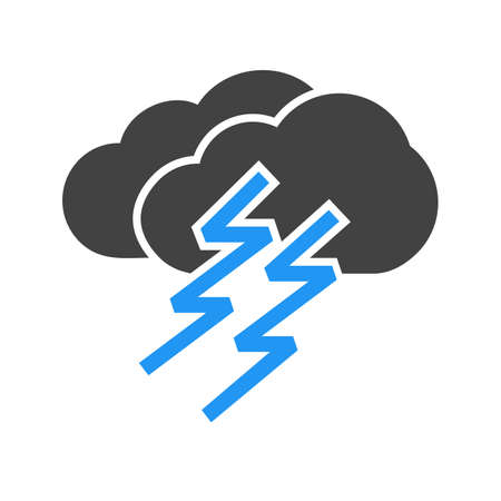 thunder cloud: Thunder, cloud, lightning, storm icon vector image. Can also be used for weather, forecast, season, climate, meteorology. Suitable for web apps, mobile apps and print media.