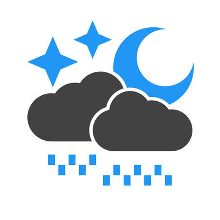 drizzle: Rain, stars, moon, cloud icon vector image. Can also be used for weather, forecast, season, climate, meteorology. Suitable for web apps, mobile apps and print media.