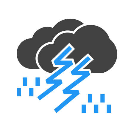 Lightning, rain, cloud, storm, thunderstorm icon vector image. Can also be used for weather, forecast, season, climate, meteorology. Suitable for web apps, mobile apps and print media. Banco de Imagens - 38331435