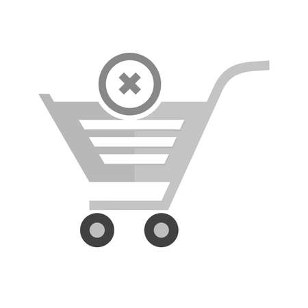 Cancelled, crossed, cart, trolley icon vector image. Can also be used for ecommerce, shopping, business. Suitable for web apps, mobile apps and print media. Çizim