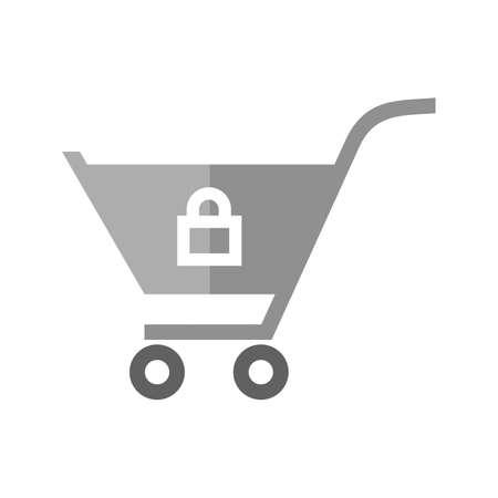 잠긴 된 카트, 트롤리, 캐리어 아이콘 벡터 이미지. 전자 상거래, 쇼핑, 비즈니스에도 사용할 수 있습니다. 웹 앱, 모바일 앱 및 인쇄 매체에 적합합니다 일러스트