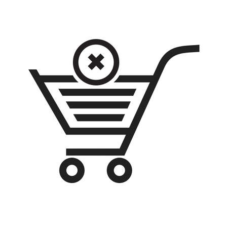 Cancelled, crossed, cart, trolley icon vector image. Can also be used for ecommerce, shopping, business. Suitable for web apps, mobile apps and print media. Illustration