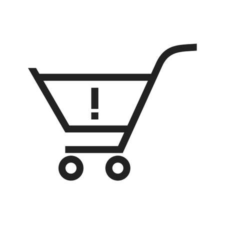 Alert, warning cart, trolley icon vector image. Can also be used for ecommerce, shopping, business. Suitable for web apps, mobile apps and print media.