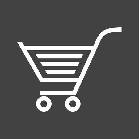 카트, 트롤리, 캐리어, 바구니 아이콘 벡터 이미지. 전자 상거래, 쇼핑, 비즈니스에도 사용할 수 있습니다. 웹 앱, 모바일 앱 및 인쇄 매체에 적합합니다 일러스트