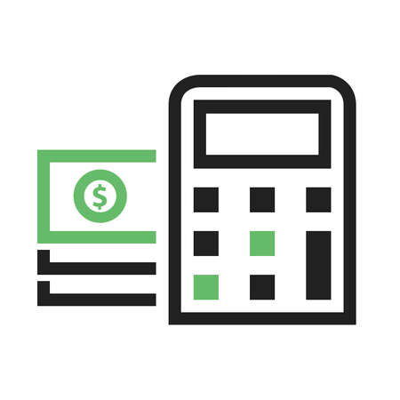 Dollar, bill, calculator, calculation icon vector image. Can also be used for eCommerce, shopping, business. Suitable for web apps, mobile apps and print media. Ilustrace