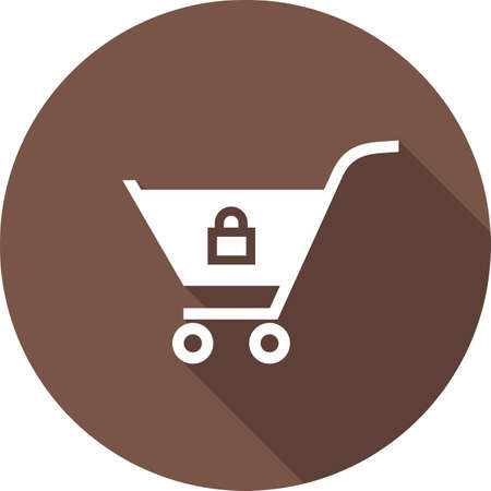Locked cart, trolley, carrier icon vector image. Can also be used for eCommerce, shopping, business. Suitable for web apps, mobile apps and print media.