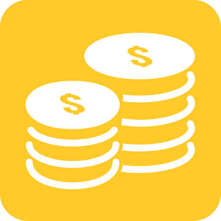 coin stack: Coin, stack, dollar, heap icon vector image. Can also be used for eCommerce, shopping, business. Suitable for web apps, mobile apps and print media.