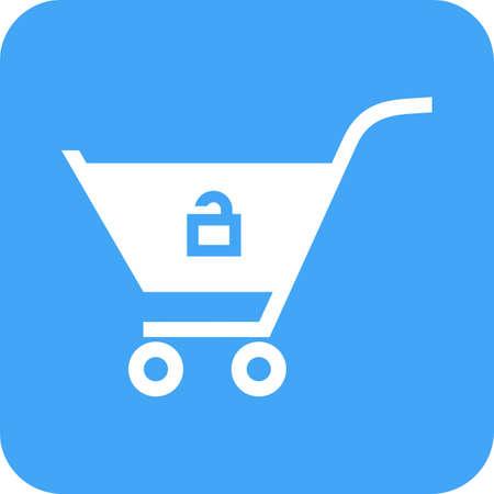 Cart, trolley, unlocked, basket icon image.