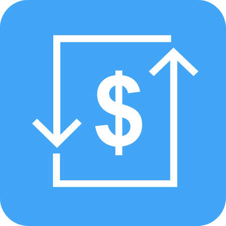 letra de cambio: Transacci�n, d�lar, cuenta, imagen del icono de cambio. Vectores