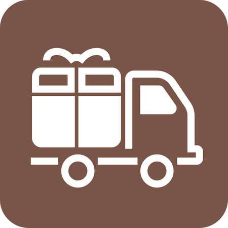 Vrachtwagen, transport, service, aflever pictogram afbeelding. Stock Illustratie