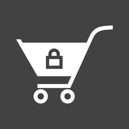locked: Locked cart, trolley, carrier icon image.