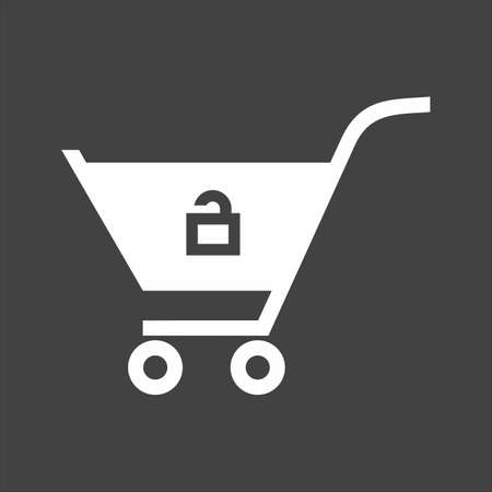 unlocked: Cart, trolley, unlocked, basket icon vector image. Can also be used for eCommerce, shopping, business. Suitable for web apps, mobile apps and print media.
