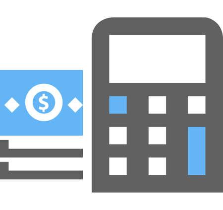 Dollar, rekening, rekenmachine, berekening pictogram vector afbeelding. Kan ook worden gebruikt voor e-commerce, winkels, bedrijven. Geschikt voor web apps, mobiele apps en gedrukte media. Stock Illustratie