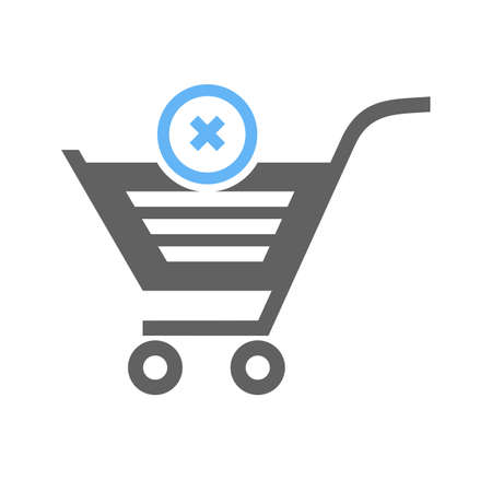 Cancelled, crossed, cart, trolley icon image.