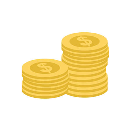 stack of coins: Coin, stack, dollar, heap icon vector image. Can also be used for eCommerce, shopping, business. Suitable for web apps, mobile apps and print media.