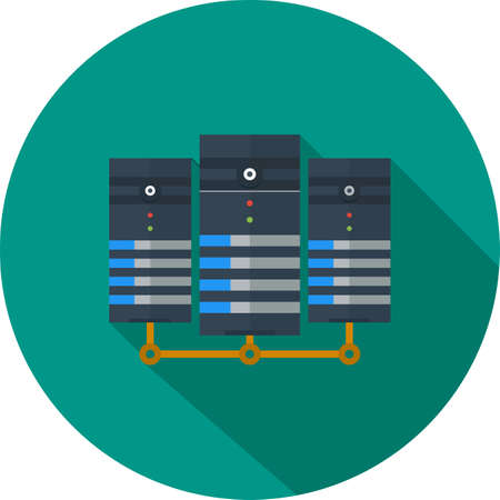 database server: Data, center, network, server icon vector image. Can also be used for communication, connection, technology. Suitable for web apps, mobile apps and print media.