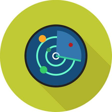 레이더, 스크린, 추적, 장비 아이콘 벡터 이미지. 또한 통신, 연결, 기술을 사용할 수 있습니다. 웹 앱, 모바일 앱 및 인쇄 매체에 적합합니다. 일러스트