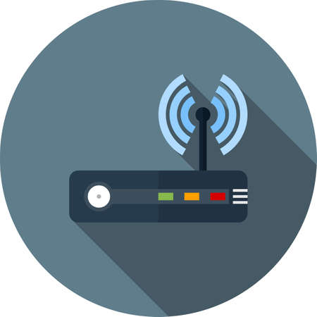 Router, modem hardware, connection icon vector image. Can also be used for communication, connection, technology. Suitable for web apps, mobile apps and print media. Stock Illustratie