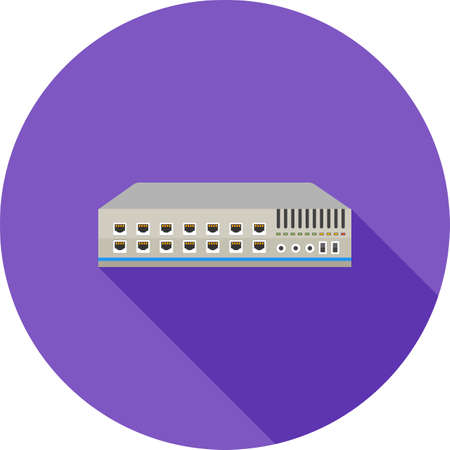 network connection plug: Networking switch, network, router icon vector image. Can also be used for communication, connection, technology. Suitable for web apps, mobile apps and print media. Illustration