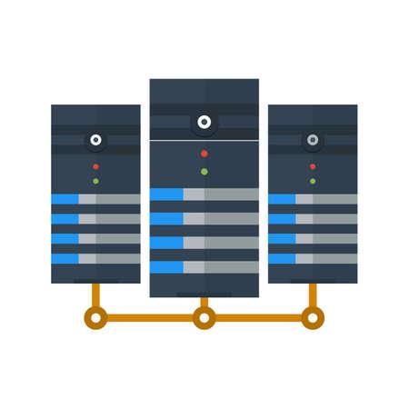 meseros: Los datos, centro, red, icono servidor de imágenes. Vectores