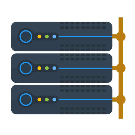 Server, koppeling, het systeem, het informatie-icoon.
