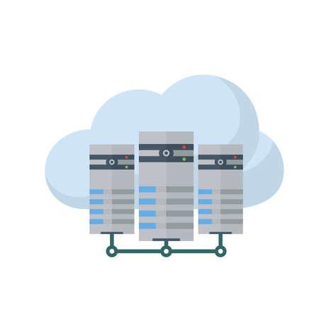 network server: Cloud, computing, server icon image.  Illustration