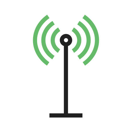 Antenna, signals, waves, beeper icon image.