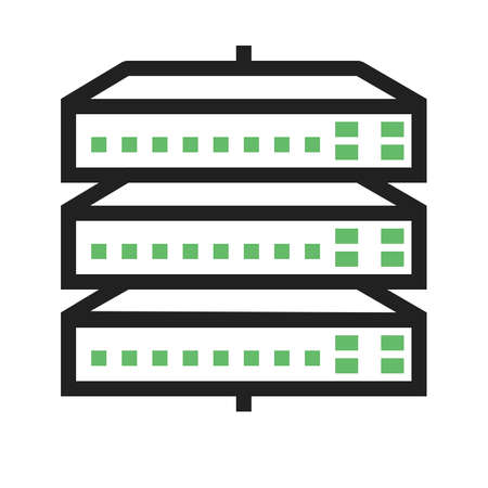 network switch: Network switch, server, switch, port icon vector image. Can also be used for communication, connection, technology. Suitable for web apps, mobile apps and print media. Illustration