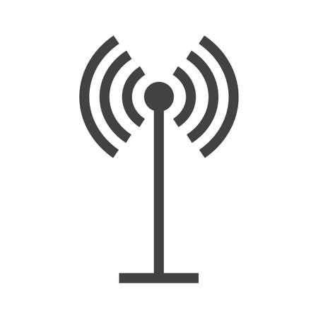 Antenne, signalen, golven, pieper pictogram vector afbeelding. Kan ook worden gebruikt voor communicatie, verbinding technologie. Geschikt voor web apps, mobiele apps en gedrukte media. Stock Illustratie