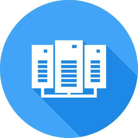 データ センター、ネットワーク、サーバー アイコン ベクトル イメージ。通信、接続、技術の使用もできます。Web アプリ、携帯アプリ、印刷メディ