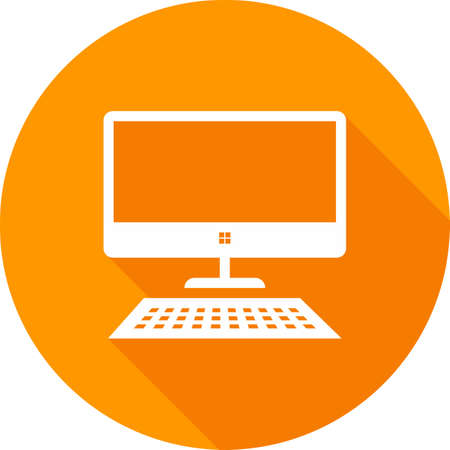 pc: Desktop, screen, keyboard, display icon vector image. Can also be used for communication, connection, technology. Suitable for web apps, mobile apps and print media. Illustration