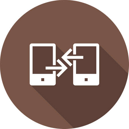 장치, 연결, 데이터 전송, 컴퓨터 아이콘 벡터 이미지. 통신, 연결, 기술에도 사용할 수 있습니다. 웹 앱, 모바일 앱 및 인쇄 매체에 적합합니다.