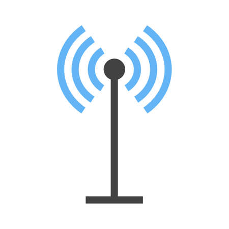 tv tower: Antenna, signals, waves, beeper icon vector image. Can also be used for communication, connection, technology. Suitable for web apps, mobile apps and print media.