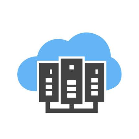 Cloud computing, ikona serwera wektor obrazu. Może być również używany do komunikacji, połączenia, technologii. Nadaje się do aplikacji internetowych, aplikacji mobilnych i mediów drukowanych.