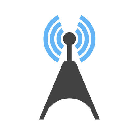 wireless: Signals, telecom, tower, technology icon vector image. Can also be used for communication, connection, technology. Suitable for web apps, mobile apps and print media. Illustration